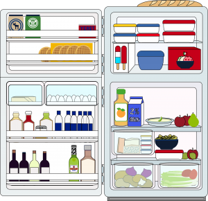 Fridge With The Food In Containers